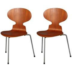 Two Early Arne Jacobsen Three Legged Ant Chairs