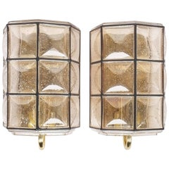 Glashütte Limburg Pair of Brass and Glass Sconces Wall Lamps, Germany, 1960