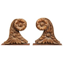 Pair of Large 18th Century French Architectural Carved Elements on Stands