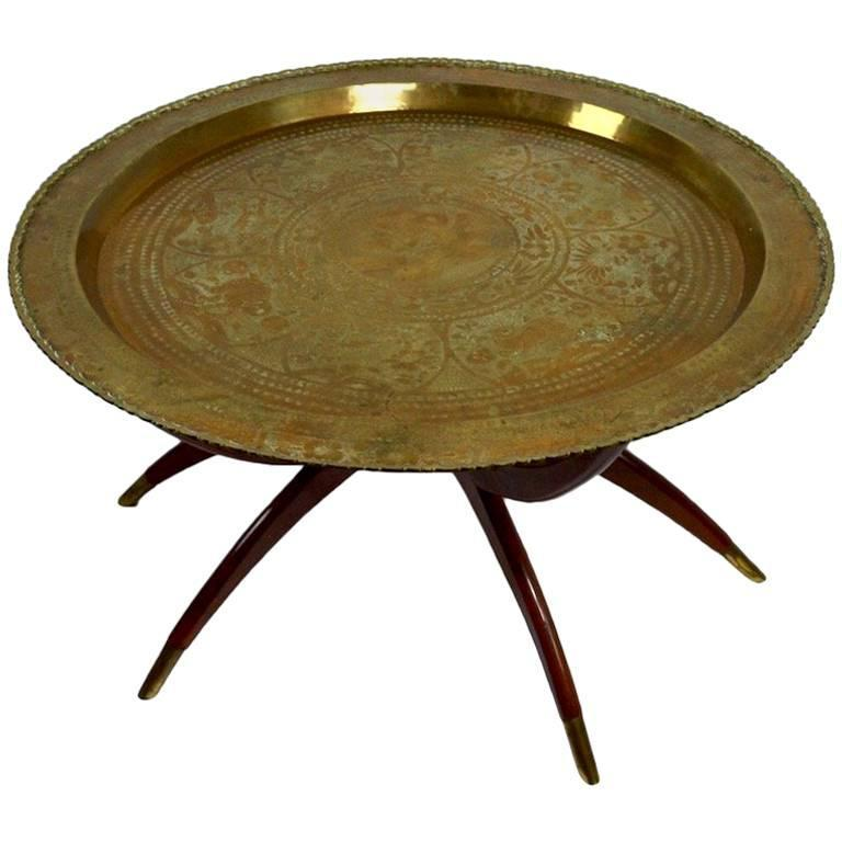 Brass and Mahogany Tray Top Table