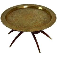 Brass and Mahogany Tray Top Table