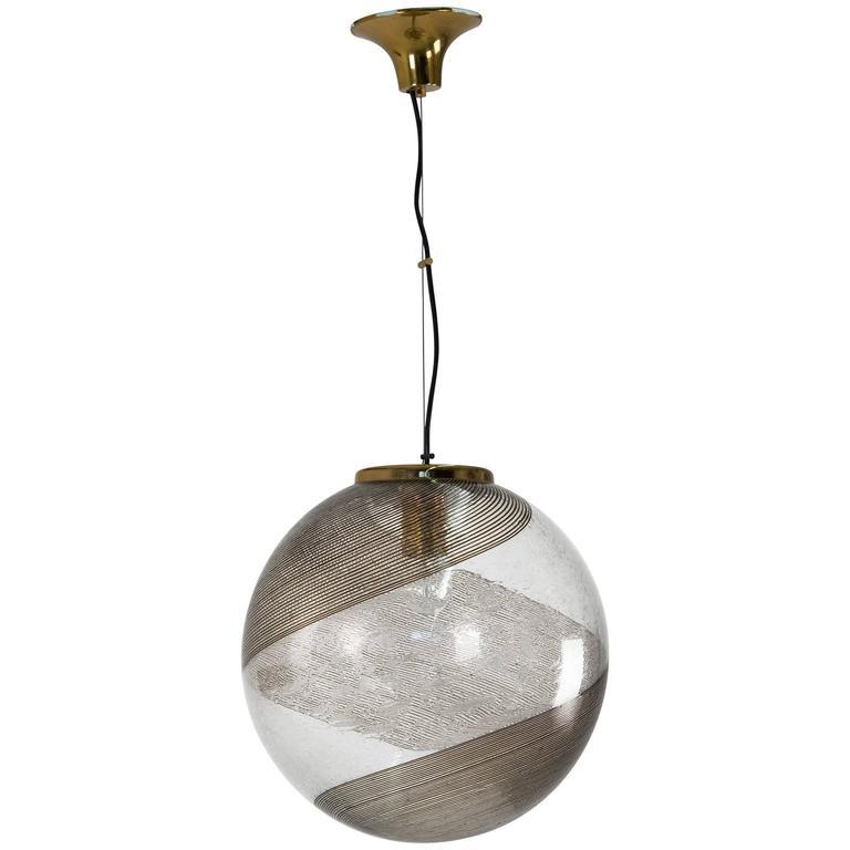 """""""A Filigrana"""" Murano Glass Pendant, Italy, 1950s"""