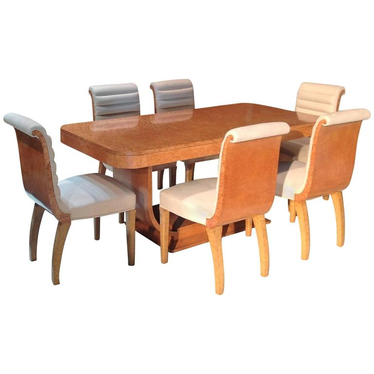 Original art deco bird 39 s eye maple dining table and chairs by epstein at 1stdibs - Epstein art deco furniture ...