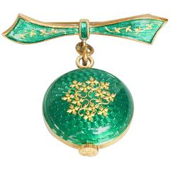 1930s Swiss Watch Brooch by Nadine with Green Guilloche Enamel on Gilt Silver