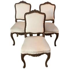 Three Original Baroque Chairs, circa 1740