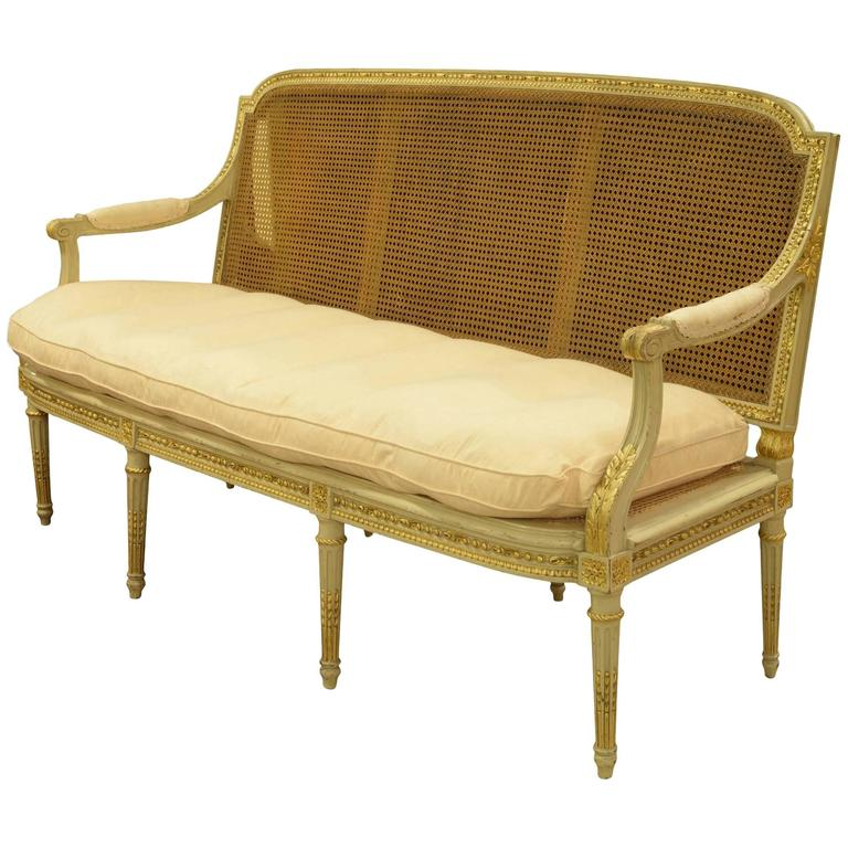 French Louis XVI Style Painted Gilded Sofa