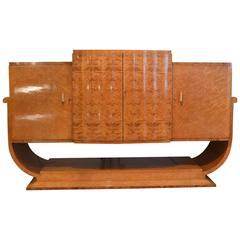 Art Deco U-Base Sideboard by Epstein in Bird's-Eye Maple