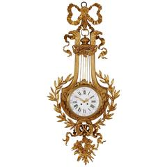 Neoclassical Style Gilt Bronze Cartel Cartel Clock with Lyre-Shaped Back Plate
