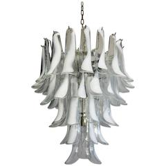 Italian Vintage Murano Chandelier in the Manner of Mazzega, 52 Glass Petals