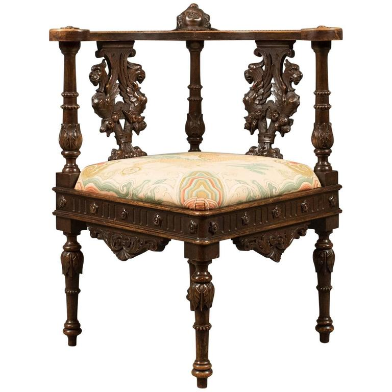 Antique Corner Armchair, Carved Victorian Chair, circa 1870 For Sale - Antique Corner Armchair, Carved Victorian Chair, Circa 1870 For Sale