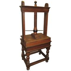 Large Antique Oak and Iron Library Book Press
