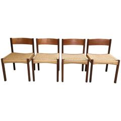 Four Vintage Danish Teak Dining Chairs Designed by Poul Volther for Frem Rojle