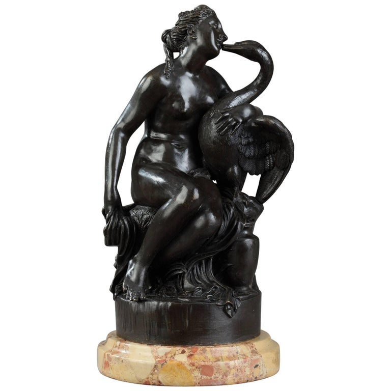 "Small Patinated Bronze Group ""Leda and the Swan"" by Rogue, 19th Century"