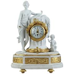Bisque and Gilt Bronze Clock in Louis XVI Style Signed Huppe and Lefauche Paris