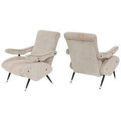Italian Reclining  Zanuso Style Grey Corduroy Pair Lounge Chairs, Mid-Century