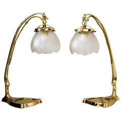 Two Art Nouveau Table Lamp with Original Glass Shades