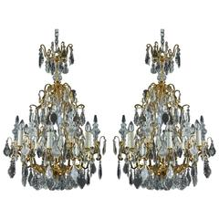 19th Century Cut-Crystal and Gilt Bronze Pair of Chandeliers