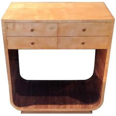 Original Art Deco U-Base Console Table in Satin Birch and Walnut