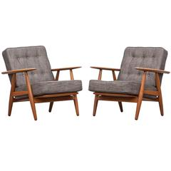 Couple of Hans Wegner Lounge Chairs  * NEW UPHOLSTERY *