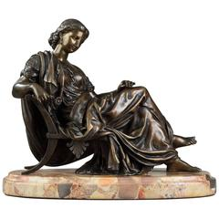 """Bronze Sculpture """"Seated Woman"""" by Moreau, after James Pradier"""