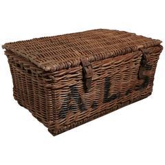 Large Victorian Wicker Linen Basket or Hamper