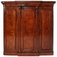English Victorian Mahogany Three-Door Breakfront Wardrobe