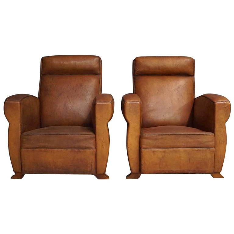 Pair of French Cognac Leather Club Chairs, 1940s
