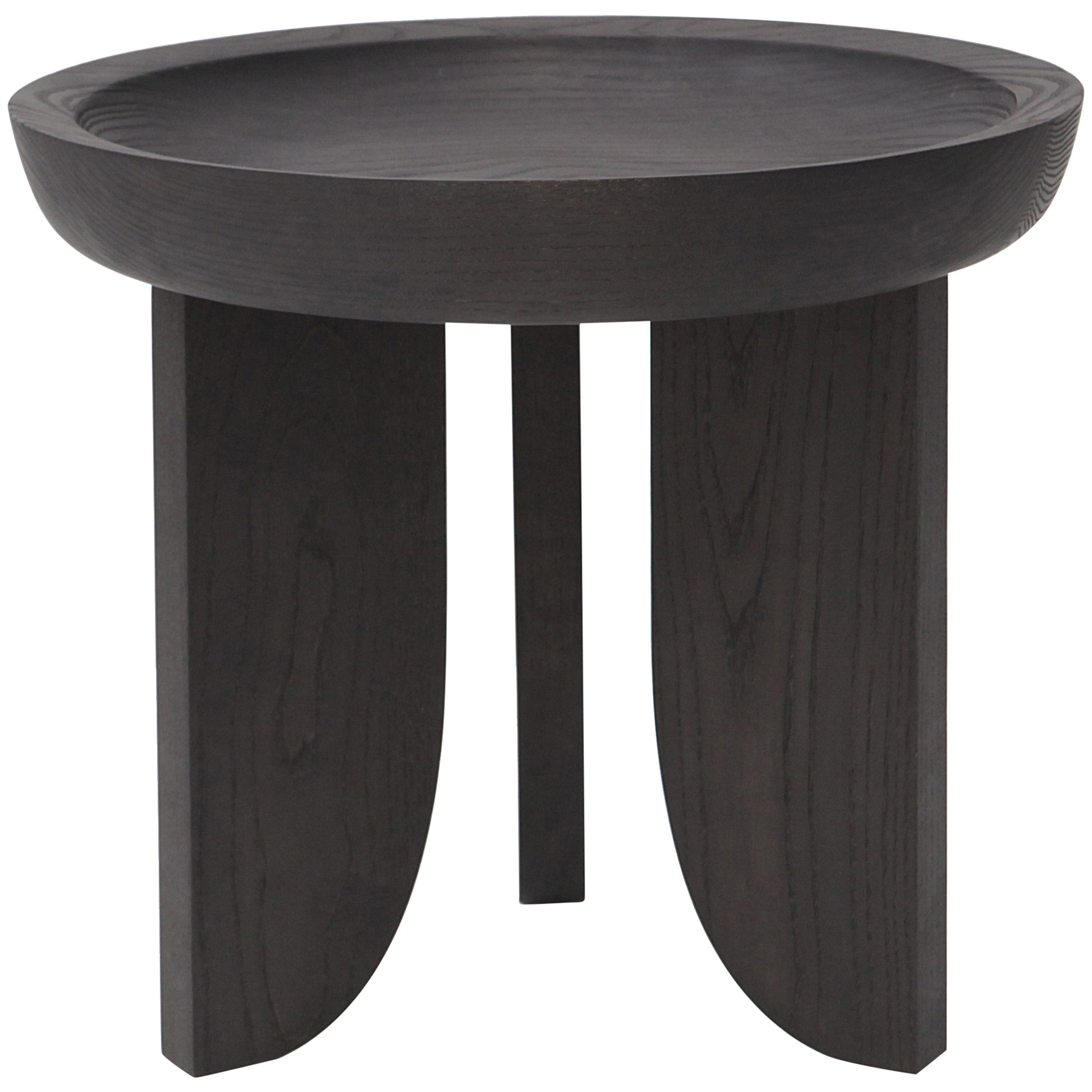 Dish Solid Wood Contemporary Sculptural Carved Side Coffee Stool Table Black