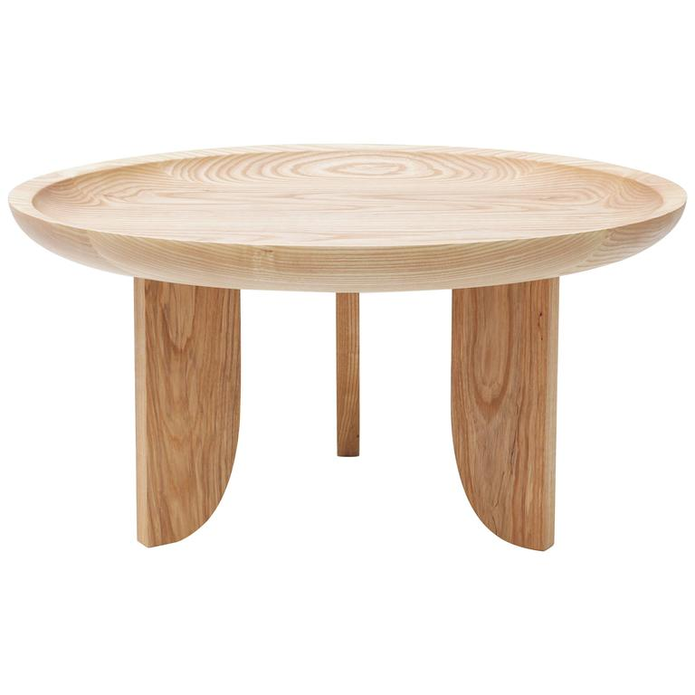 Solid Wood Coffee And End Tables For Sale: Dish Solid Wood Contemporary Sculptural Carved Side Coffee