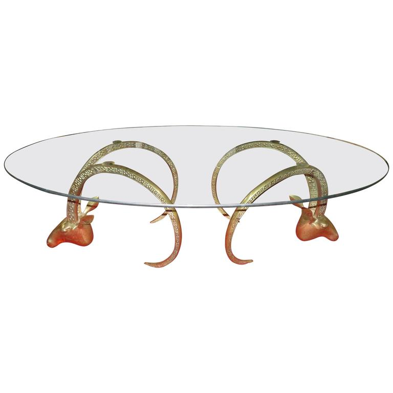 Magnificent Brass Ibex Ram Head Coffee Table Mid-Century Regency Modern For Sale
