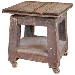 Wood Potter's Table on Casters from France, circa 1910