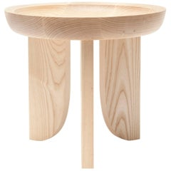 Dish Solid Wood Contemporary Sculptural Carved Side Coffee Stool Table Natural