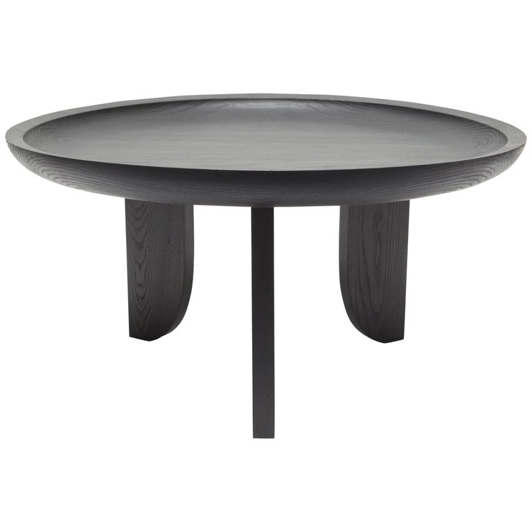 Dish solid wood contemporary sculptural carved side coffee for Black wood coffee table and end tables