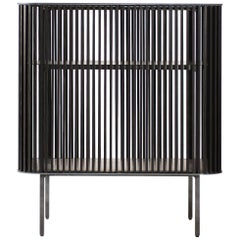 Dry Bar in Oiled Laser Cut Steel Frame with Black Oak Slats and Leather Top