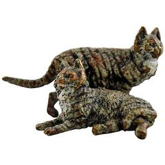 Vienna Bronze, Two Cats, Bronze Figure of High Quality, Probably Franz Bergmann