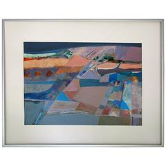 "Gouache on Paper ""Pyramids"" by Margaret Smith in the Manner of Diebenkorn"