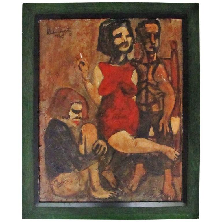"Existential Beatnik Oil Painting Signed ""Rabinowitz 1968"" 1"