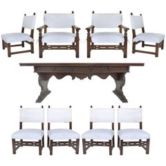 Renaissance Revival Dining Set with Eight Chairs Signed and Dated 1929