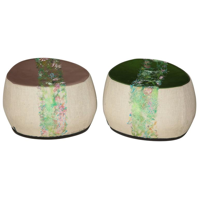 """Two Small """"Fjord"""" Stools by Nuala Goodman and Patricia Urquiola for Moroso"""
