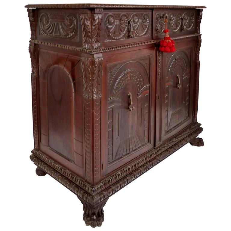 American Renaissance Revival Carved Cabinet by S. Pagano, New York Dated 1930