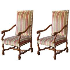 Pair of Late 19th Century French Elm Louis XV Style Fauteuils, Armchairs