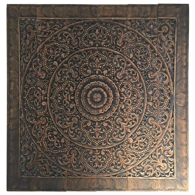 Hand-Carved Balinese Oversized Decorative Teak Wall or Ceiling Art Panel For Sale
