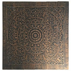 Hand-Carved Balinese Oversized Decorative Teak Wall or Ceiling Art Panel