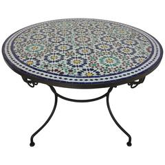 Moroccan Round Mosaic Outdoor Tile Table in Fez Moorish Design 39 Inches