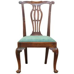 Exceptional Late 18th Century English Elm Country Chippendale Occasional Chair