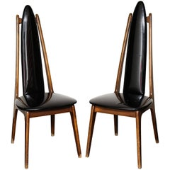 Pair of Postmodern High Back Side Chairs