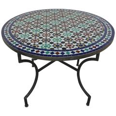 Moroccan Round Mosaic Tile Outdoor Table in Moorish Fez Design
