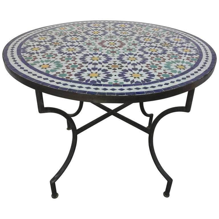 Moroccan Marble And Stone Mosaic Table Indoor Or Outdoor For Sale At - Moroccan outdoor coffee table