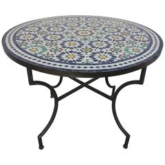 Moroccan Outdoor Mosaic Tile Table from Fez in Traditional Moorish Design