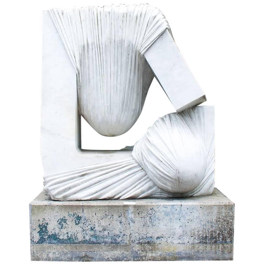 Huge  Carrara Marble Statue, Signed by Bernard Verhaeghe